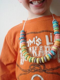 Fruit Loop necklaces ive totally done these with the kids before so much fun