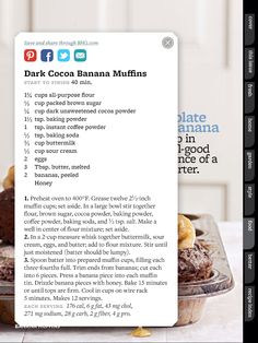 Dark Cocoa Banana Muffins (Better Homes and Gardens April 2014)