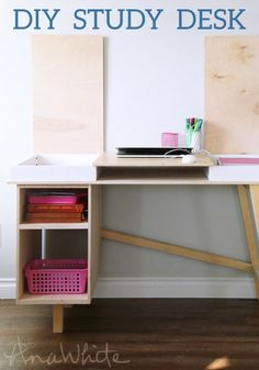 Take some time out of your weekend to help your kids build their very own desk. They will love their new study space or homework station!