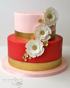 Pink and red petite cake with sugar flowers by The Butter End Cakery