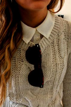 my favorite combo lately :) knit sweaters and collared shirts