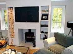 Alcove Space in a Chimney Breast - modern - Living Room - Other Metro - The Log Basket #chimneydecorlivingroom