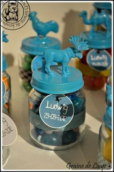 Organize jars by color or animal