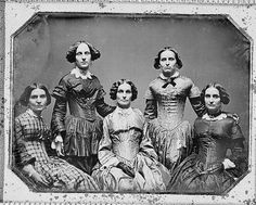 Clark sisters, five women, three-quarter length portraits, all facing front. 1840.  The photograph documents Grandmother and aunts of photographer Frances Benjamin Johnston.