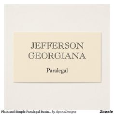 Customizable and minimal paralegal business card customizable plain and simple paralegal business card colourmoves