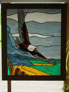 Stained Glass Bald Eagle Panel by StainedGlassbyBetty on Etsy