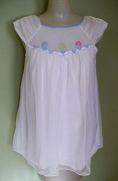 Baby Doll Pajamas, 50's 60's Chiffon & Embroidered from lakegirlvintage on Ruby Lane