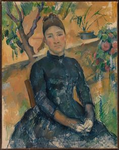 "Paul Cézanne (French, Aix-en-Provence 1839–1906 Aix-en-Provence). Madame Cézanne (Hortense Fiquet, 1850–1922) in the Conservatory, 1891. The Metropolitan Museum of Art, New York. Bequest of Stephen C. Clark, 1960(61.101.2) | This work is exhibited in the ""Unfinished: Thoughts Left Invisible"" exhibition, on view through September 4th, 2016. #MetBreuer"