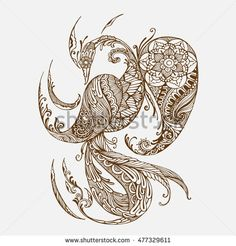 Hand-drawn Oriental phoenix with ethnic ornaments floral doodle pattern. Vector…