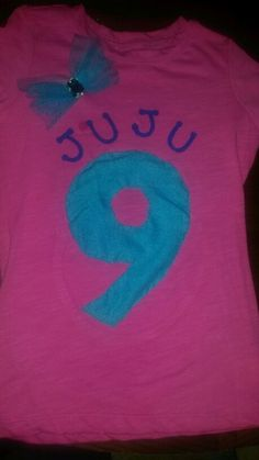 Sew on fabric 9 makes for an original birthday shirt..add a tull bow and some letters!