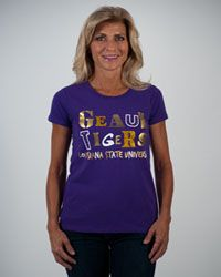 """LSU Football women's fashion - Campus Couture """"Sophia"""" RELAXED fit $35.95"""