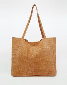 ASOS Suede Embossed Croc Shopper Bag
