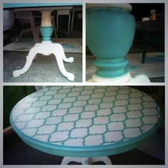 Paint Minerals mixed with Behr Navajo white and stenciled. Clear wax and a light distress.  The finish is velvety thanks to Paint Minerals.