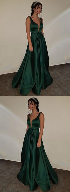 deep v-neck long satin emerald green prom dresses 2018 formal evening gowns for bridesmaid