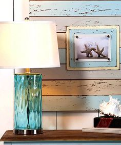 Turquoise Glass Lamp by Evergreen #zulily #zulilyfinds