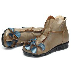SOCOY Flower Soft Leather Ankle Vintage Slip On Flat Boots