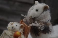 Stuffed Animals by Natasha Fadeeva - mother mouse with a baby