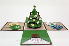 Explosionsbox Weihnachten mit Weihnachtsbaum Explosion box with christmas tree. Exploding box with cristmas tree. Created with Stampin 'Up! Boxed Christmas Cards, Xmas Cards, All Things Christmas, Handmade Christmas, Christmas Crafts, Christmas Tree, Upcycled Crafts, Diy And Crafts, Paper Crafts