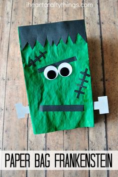 Paper Bag Frankenstein Craft for Kids. Fun Halloween Kids Craft that they can play with afterwards as a puppet.