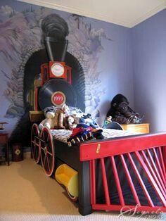 Mega Awesome Diy train toddler bed mural