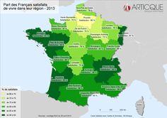 Part des Français satisfaits de vivre dans leur région - 2013