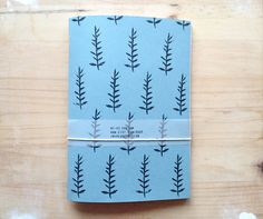 Hand Printed Recycled Journal with Plant Pattern, gift for writers and artists, Back to School Notebook on Etsy, $19.06