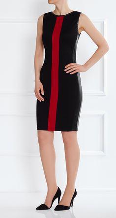 Stretchkleid mit Kunstledereinsätzen In diesem Kleid werden Sie garantiert auffallen: ob etwas schicker im Büro oder auf Ihrer nächsten Abendveranstaltung: unser Emily Dress ist die perfekte Wahl.Der klassische, knielange Schnitt wirkt elegant. Der farbliche Akzent und die mit schwarzem Kunstleder abgesetzten Seiten und Kanten an Arm und Hals verleihen Ihnen eine entspannte Coolness.  Das Kleid fällt schmal aus. Wählen Sie im Zweifel die nächst größere Größe.