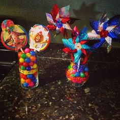 Gumballs Vases And Pin Wheels From Dollar Tree Madagascar3 Party Decorations Circus