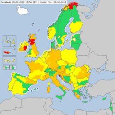 Meteoalarm - severe weather warnings for Europe - Valid for 28.02.2018