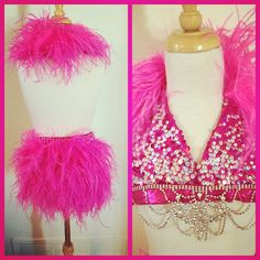 Hot pink ostrich and sequins, loving this combo Duo Costumes, Dance Costumes, Costume Ideas, Dance Comp, Lights Camera Action, Pink Bling, Dance The Night Away, Dance Outfits, Dance Wear