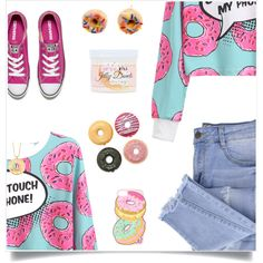 Converse by tina-pieterse on Polyvore featuring Essie, Converse, Forever 21, Butter Toki, Tadam!, donut and FoodieFashion