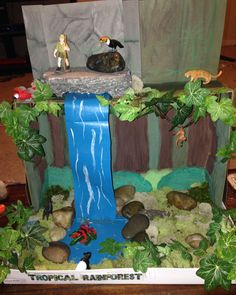 Shoe box diorama of the Rainforest my daughter (with help from me and her dad) made for school.