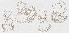 INSTANT DOWNLOAD Thanksgiving Day Sunbonnet by embroiderygirl, $7.50