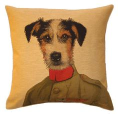 Jack Russell Tapestry Cushion with design by Thierry Poncelet, Belgian artist, available in UK.