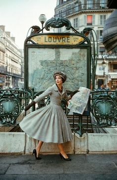 Christian Dior - 1957 - Paris Louvre Metro Station - Photo by Mark Shaw - A Bright Young Look in Paris - LIFE magazine - (Métro Louvre Rivoli in Paris, Built: 1900, Architect Hector Guimard, Art Nouveau) - https://www.1stdibs.com/art/photography/color-photography/mark-shaw-grey-dior-outside-paris-louvre-metro/id-a_84572/