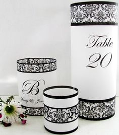 Damask Wedding Table Numbers or Monogram Luminaries Sampler Set - #wedding #black