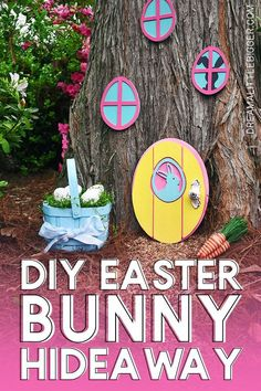 I have to make one of these adorable doors to the Easter Bunny's hideaway. What a whimsical little craft that will make my littles so happy! Adult Crafts, Fun Crafts For Kids, Crafts To Make, Diy Crafts, Easter Crafts, Holiday Crafts, Holiday Ideas, Easter Art, Spring Crafts
