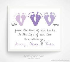 Mother's Day Gift from Triplets, Children - Personalized Gift for Grandma - We Love You Baby Footprint Art - Gift for New Mom, Grandmother