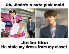 Cute lil jimin be like: princess Jin be like: ........now you got jam.......