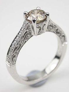 Champagne Diamond Filigree Engagement Ring