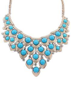Luxury Aqua Faux Stone Necklace