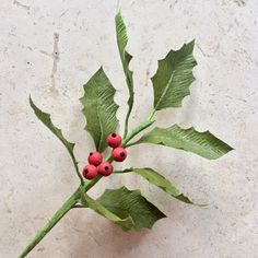 This single stem of holly and berries is highly detailed and realistic. Beautiful on its own or in an arrangement, they are sure to add an elegant holiday feel to your home decor, at your wedding, or anywhere you care to enjoy it. Using my own techniques to create the special double-sided look and extra shine to the leaves, this organic-looking stem of greenery will never wilt or die. Each stem of holly includes 8 leaves, 5 berries, and is on an 18 stem that can be cut or bent to fit in any…