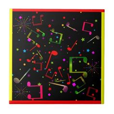 Music Notes on Black with Red / Yellow Border Edge Ceramic Tile - rustic gifts ideas customize personalize