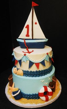 nautical+first+birthday | here s an example of a sailboat we did for a boy s first birthday but ...