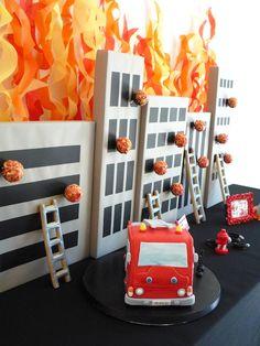 Firetruck Cake Five Alarm Guest Dessert Feature {& Tissue Fire Backdrop Tutorial}