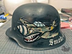Painted German Style WWII Replica Helmet - Click image too see more photos of this project.
