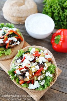 Roasted Vegetable Pita Sandwich Recipe on twopeasandtheirpod.com