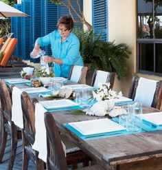 Rustic table~ I'd use the table outside only... But set it beachy style! ~ table setting via My Home Ideas #coastalliving