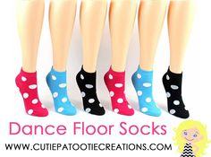 Dance Floor Party Socks - Big Polka Dots for Bar and Bat Mitzvahs, Sweet 16, Quinceanera by Cutie Patootie Creations #cutiepatootiecreations
