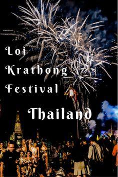 Loi Krathong festival celebrations in Thailand. #LoiKrathong #Bangkok #Festival #ChaoPhraya #FireWorks